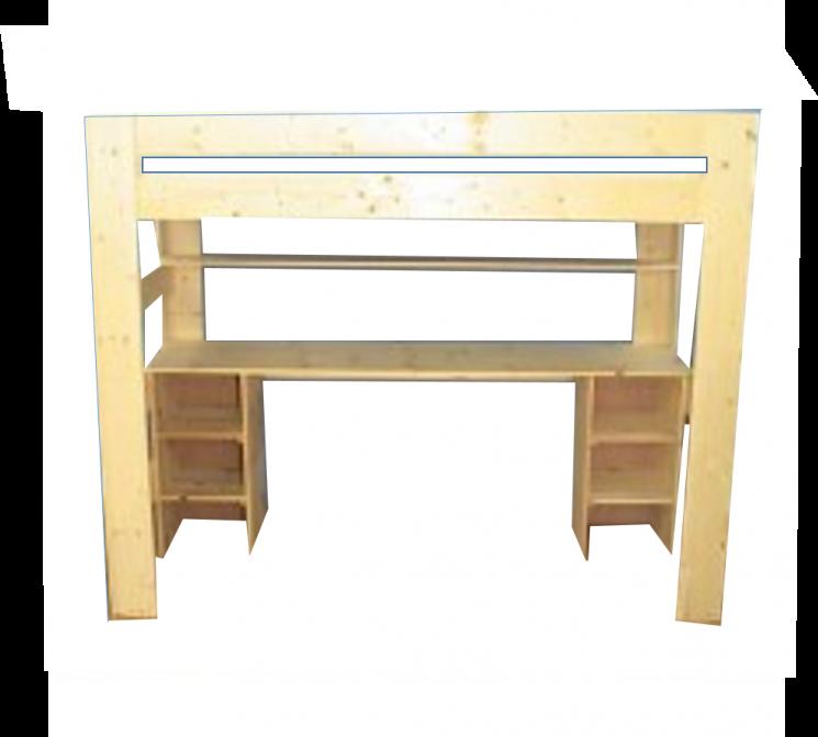 Hoogslaper MAUR1 170 - 230 cm hoog bureau- 2 rekjes