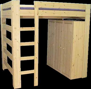 Hoogslaper met kast aan korte zijde - MAUR1 (170-230cm Hoog)