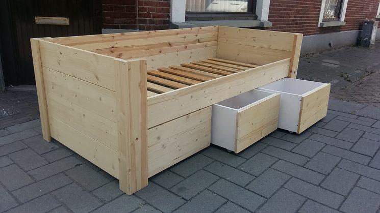Houten Bank Bed met 3 laden - Petra (Hoog)